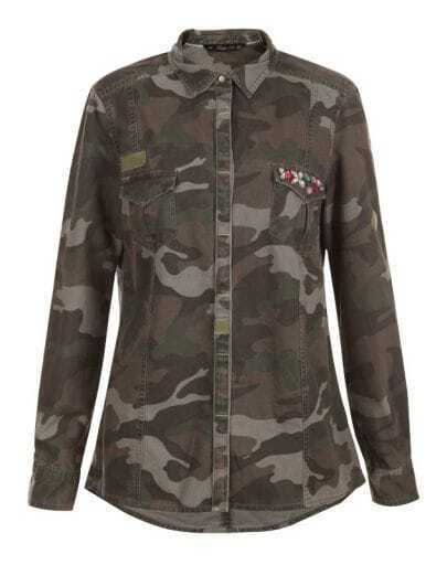 Green Camouflage Lapel Long Sleeve Rhinestone Pockets Coat