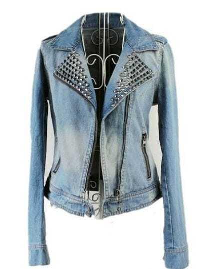 Blue Long Sleeve Bleached Rivet Crop Denim Coat