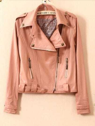 Pink Lapel Long Sleeve Rivet Zipper PU Leather Crop Coat