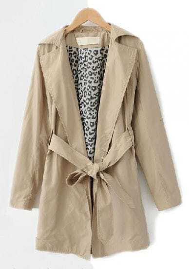 Apricot Lapel Long Sleeve Leopard Trench Coat
