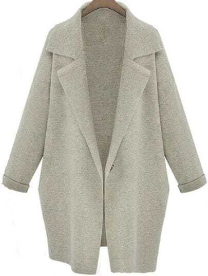 Light Grey Lapel Long Sleeve Loose Trench Coat