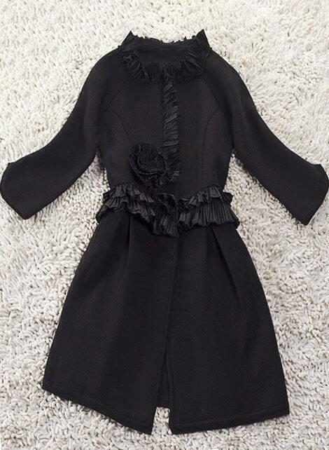 Black ruffle sweater coat