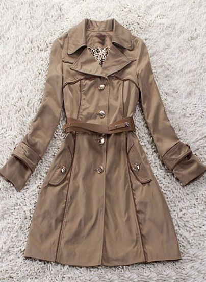 Khaki Lapel Contrast PU Leather Long Sleeve Coat