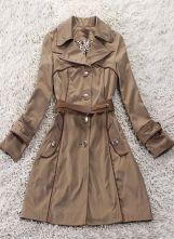 Khaki Lapel Contrast PU Leather Long Sleeve Coat