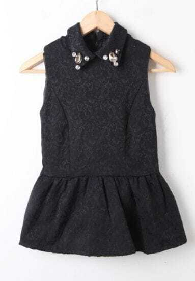Black Lapel Sleeveless Rhinestone Floral Blouse