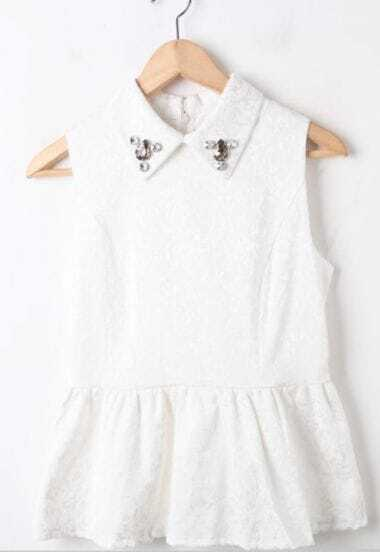 White Lapel Sleeveless Rhinestone Floral Blouse