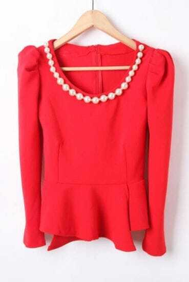 Red Long Sleeve Zipper Pearls Ruffles Blouse