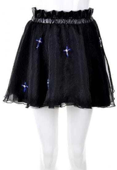 Black Cross Beading Bodycon Skirt