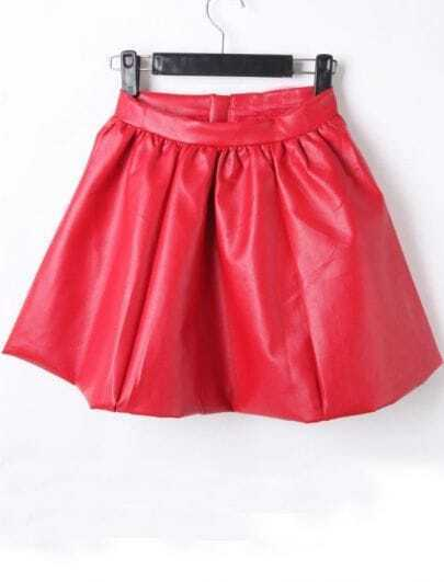 Red Zipper PU Leather Skater Skirt