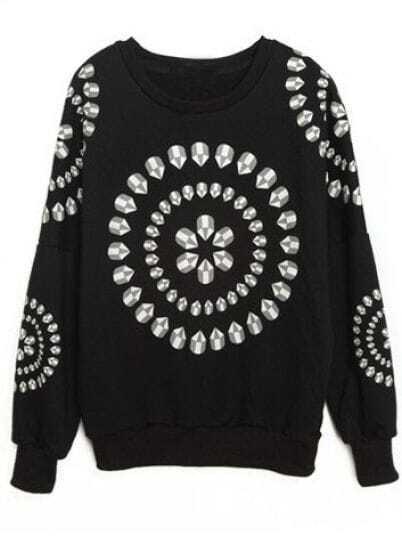 Black Long Sleeve Rhinestone Floral Loose Sweatshirt