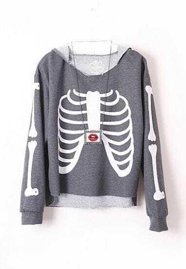 Dark Grey Hooded Long Sleeve Skeleton Print Sweatshirt