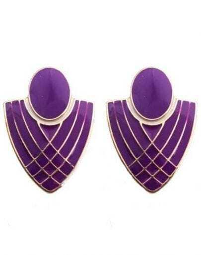 Purple Badge Gold Stud Earrings
