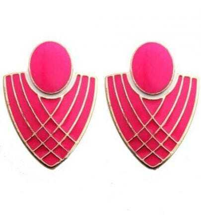 Pink Badge Gold Stud Earrings