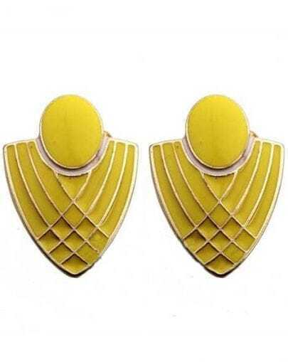 Yellow Badge Gold Stud Earrings