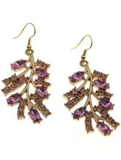 Purple Crystal Gold Branches Dangle Earrings
