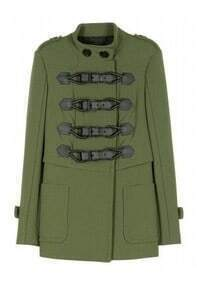 Army Green Long Sleeve Buckle Strap Epaulet Coat