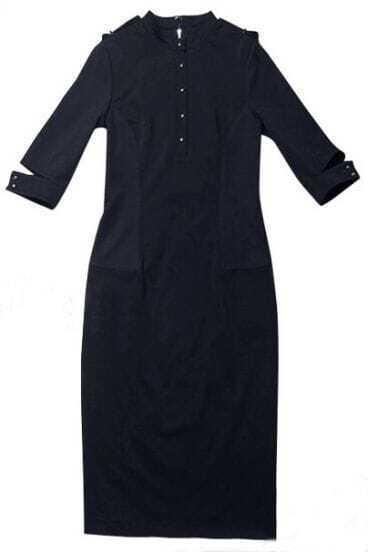 Blue High Neck Split Cuff Epaulet Bodycon Dress