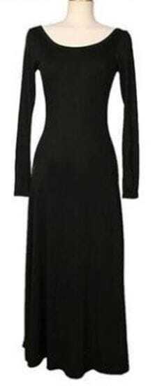 Black Scoop Neck Long Sleeve Backless Dress