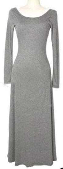Light Grey Scoop Neck Long Sleeve Backless Dress