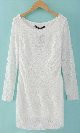 White Hollow Lace Long Sleeve Round Neck Dress