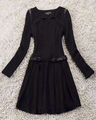 Black Long Sleeve Shoulder Contrast Leather Ruffles Dress