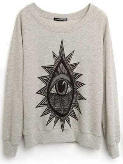 Grey Long Sleeve Eye Print Loose Sweatshirt