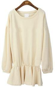 Beige Long Sleeve Elasic Waist Ruffles Sweatshirt