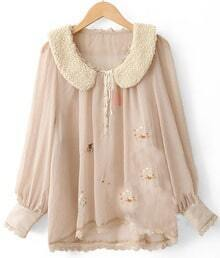 Khaki Long Sleeve Deer Embroidery Lace Chiffon Blouse