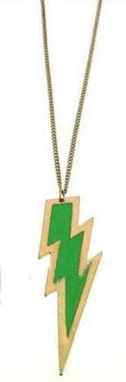 Green Lightning Gold Long Necklace