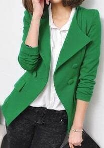 Green Lapel Long Sleeve Shoulder Pads Suit