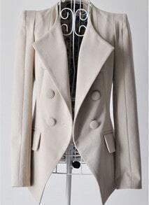 Beige Lapel Long Sleeve Shoulder Pads Suit