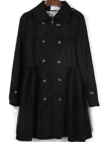 Black Drawstring Waist Buttons Embellished Trench Coat