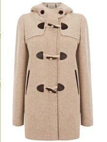 Khaki Hooded Long Sleeve Horn Button Trench Coat