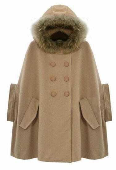 Camel Fur Hooded Half Sleeve Pockets Cape Coat