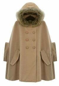 Camel Fur Hooded Half Sleeve Pockets Cape Coat