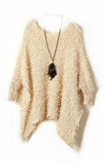 Apricot Batwing Long Sleeve Fringe Loose Sweater