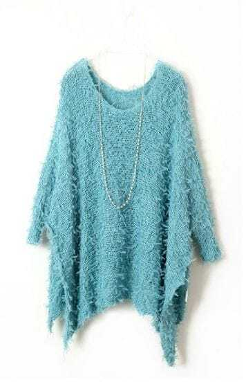 Blue Batwing Long Sleeve Fringe Loose Sweater