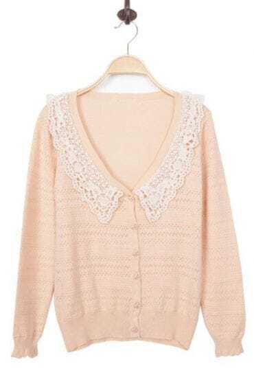 Apricot Lace V Neck Long Sleeve Cardigan Sweater