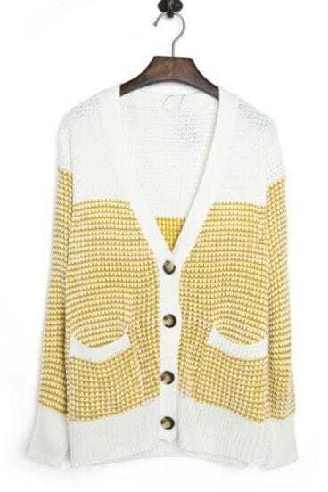 Yellow Long Sleeve Pockets Loose Cardigan Sweater