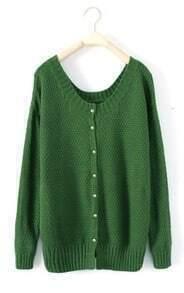 Green Round Neck Long Sleeve Cardigan Sweater