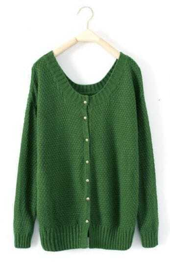 Green Round Neck Long Sleeve Cardigan Sweater