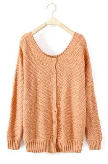 Pink Round Neck Long Sleeve Cardigan Sweater