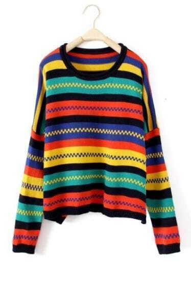Dark Multi Long Sleeve Striped Pullovers Sweater