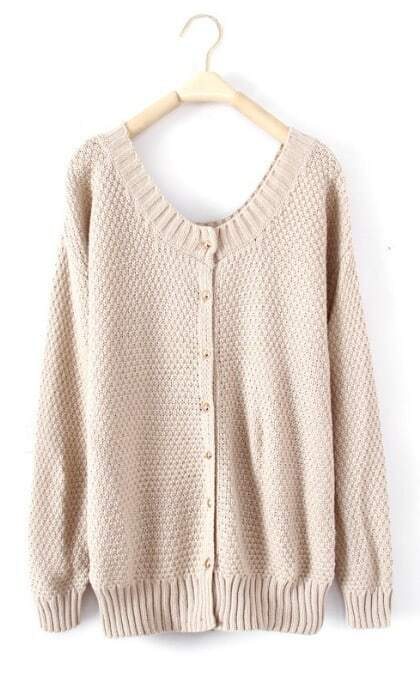 Beige Round Neck Long Sleeve Cardigan Sweater -SheIn(Sheinside)
