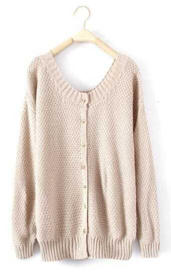 Beige Round Neck Long Sleeve Cardigan Sweater