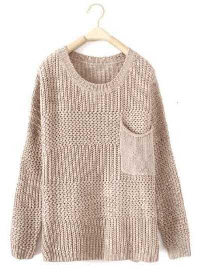 Beige Long Sleeve Pocket Embellished Pullovers Sweater