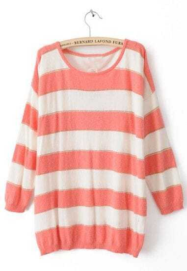 Pink White Striped Long Sleeve Pullovers Sweater