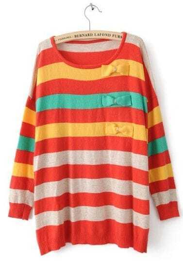 Red Long Sleeve Striped Bow Pullovers Sweater