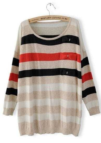Khaki Long Sleeve Striped Bow Pullovers Sweater