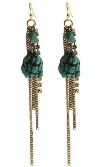 Green Stone Gold Chain Tassel Dangle Earrings